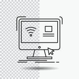 Έλεγχος, υπολογιστής, όργανο ελέγχου, μακρινό, έξυπνο εικονίδιο γραμμών στο διαφανές υπόβαθρο Μαύρη διανυσματική απεικόνιση εικον διανυσματική απεικόνιση