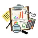 Έλεγχος, φορολογική διαδικασία, λογιστική έννοια διανυσματική απεικόνιση