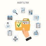 Έλεγχος, φόρος, λογιστική έννοια διανυσματική απεικόνιση