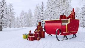 Έλκηθρο Άγιου Βασίλη μεταξύ του χιονώδους χειμώνα δασικό 4K απεικόνιση αποθεμάτων