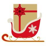 έλκηθρο δώρων Χριστουγένν Στοκ Φωτογραφίες