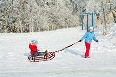 έλκηθρο παιδιών Στοκ Φωτογραφία