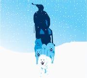 έλκηθρο φυλών σκυλιών απεικόνιση αποθεμάτων