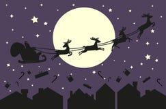 έλκηθρο santa Claus Σκιαγραφία στο μπλε ουρανό διανυσματική απεικόνιση