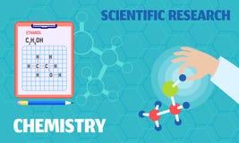 Έμβλημα έννοιας επιστημονικής έρευνας χημείας, επίπεδο ύφος διανυσματική απεικόνιση