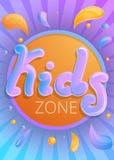 Έμβλημα έννοιας ζώνης παιδιών, ύφος κινούμενων σχεδίων απεικόνιση αποθεμάτων