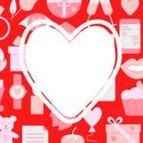Έμβλημα έννοιας ημέρας βαλεντίνων με τα εικονίδια αγάπης στο επίπεδο ύφος στοκ φωτογραφία με δικαίωμα ελεύθερης χρήσης