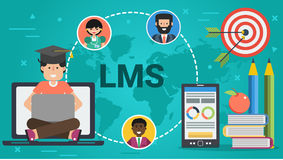 Έμβλημα - έννοια LMS ελεύθερη απεικόνιση δικαιώματος