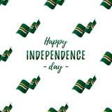 Έμβλημα ή αφίσα του εορτασμού ημέρας της ανεξαρτησίας της Δομίνικας Άνευ ραφής σχέδιο με την κυματίζοντας σημαία Σημαία της Δομίν ελεύθερη απεικόνιση δικαιώματος
