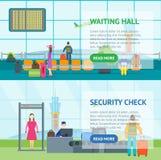 Έμβλημα αναμονής και ελέγχου ασφαλείας αερολιμένων κινούμενων σχεδίων οριζόντιο διάνυσμα ελεύθερη απεικόνιση δικαιώματος