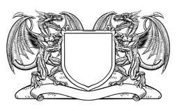 Έμβλημα ασπίδων καλύψεων CREST οικοσημολογίας δράκων των όπλων Στοκ Φωτογραφία