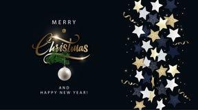 Έμβλημα, αφίσα, πρόσκληση, κάρτα ή ιπτάμενο Χριστουγέννων Σχέδιο διακοπών με τη μεταλλική εγγραφή, τα μαύρα, χρυσά και άσπρα αστέ απεικόνιση αποθεμάτων