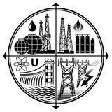Έμβλημα βιομηχανίας των πόρων ενέργειας: Πετρέλαιο, αέριο, ηλεκτρική ενέργεια, πυρηνική και υδρο δύναμη απεικόνιση αποθεμάτων