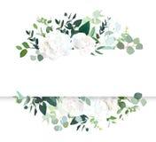 Έμβλημα γαμήλιου floral οριζόντιο διανυσματικό σχεδίου διανυσματική απεικόνιση