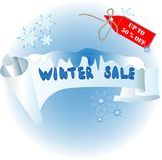 Έμβλημα για ένα μπλε χρώμα χειμερινής πώλησης διανυσματική απεικόνιση