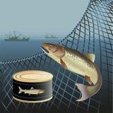 Έμβλημα για τα θαλάσσια προϊόντα ελεύθερη απεικόνιση δικαιώματος
