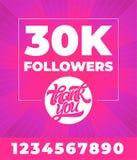 Έμβλημα για τα κοινωνικά μέσα Σας ευχαριστούμε 300K οπαδοί Διανυσματική τυπογραφία με όλα τα ψηφία στο φωτεινό ρόδινο υπόβαθρο ed ελεύθερη απεικόνιση δικαιώματος