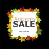 Έμβλημα για την πώληση φθινοπώρου στο πλαίσιο από τα φύλλα, το εικονίδιο ή το λογότυπο στο σκοτεινό υπόβαθρο ελεύθερη απεικόνιση δικαιώματος