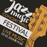 Έμβλημα για τη μουσική τζαζ φεστιβάλ με έναν λαιμό κιθάρων Στοκ Εικόνες
