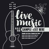 Έμβλημα για τη συναυλία της ζωντανής μουσικής με την κιθάρα Στοκ φωτογραφία με δικαίωμα ελεύθερης χρήσης