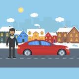 Έμβλημα για τις πωλήσεις, το σπίτι διαφήμισης, το εξοχικό σπίτι με το αυτοκίνητο και το άτομο Στοκ Εικόνες