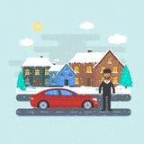 Έμβλημα για τις πωλήσεις, το σπίτι διαφήμισης, το εξοχικό σπίτι με το αυτοκίνητο και το άτομο Στοκ Φωτογραφίες