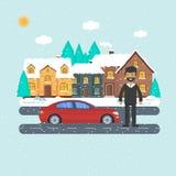 Έμβλημα για τις πωλήσεις, το σπίτι διαφήμισης, το εξοχικό σπίτι με το αυτοκίνητο και το άτομο Στοκ εικόνα με δικαίωμα ελεύθερης χρήσης