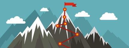 Έμβλημα διαδρομών βουνών, επίπεδο ύφος ελεύθερη απεικόνιση δικαιώματος
