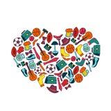 Έμβλημα διακοπών ημέρας πατέρων με μορφή μιας καρδιάς στο ύφος doodle Τρόπος ζωής ατόμων s, αθλητικός εξοπλισμός, ενδύματα και εξ διανυσματική απεικόνιση