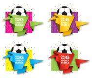 Έμβλημα εγγράφου Origami στο θέμα ποδοσφαίρου Καθορισμένο σχέδιο προτύπων εμβλημάτων πώλησης Ειδική προσφορά Ετικέττα έκπτωσης, δ ελεύθερη απεικόνιση δικαιώματος