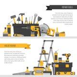 Έμβλημα εγχώριας επισκευής Εργαλεία onstruction Ð ¡ Εργαλεία χεριών για το σπίτι ren Διανυσματική απεικόνιση