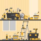 Έμβλημα εγχώριας επισκευής Εργαλεία onstruction Ð ¡ Εργαλεία χεριών για το σπίτι ren Απεικόνιση αποθεμάτων