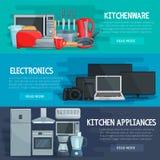 Έμβλημα εγχώριων συσκευών του σκεύους για την κουζίνα, ηλεκτρονική ελεύθερη απεικόνιση δικαιώματος