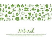 Έμβλημα εικονιδίων Eco Φυσικός, εκτός από το σχέδιο στοιχείων φύσης Στοκ εικόνα με δικαίωμα ελεύθερης χρήσης