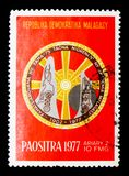 Έμβλημα, επέτειος 75 της ακαδημίας της Μαδαγασκάρης, circa 1977 Στοκ Εικόνες