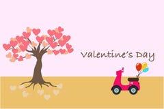 Έμβλημα ημέρας βαλεντίνου ή κάρτα με μια μοτοσικλέτα και το δέντρο της αγάπης απεικόνιση αποθεμάτων