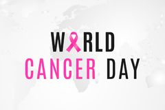 Έμβλημα ημέρας παγκόσμιου καρκίνου 4 Φεβρουαρίου είναι ημέρα όταν ενώνουν όλοι οι άνθρωποι ενάντια στην ογκολογία ελεύθερη απεικόνιση δικαιώματος