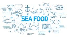 Έμβλημα θαλασσινών στο σύγχρονο ύφος με τα λεπτά εικονίδια γραμμών απεικόνιση αποθεμάτων