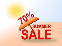 Έμβλημα θερινής πώλησης 70% με την ομπρέλα ήλιων και παραλιών ελεύθερη απεικόνιση δικαιώματος