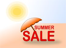 Έμβλημα θερινής πώλησης με την ομπρέλα ήλιων και παραλιών ελεύθερη απεικόνιση δικαιώματος