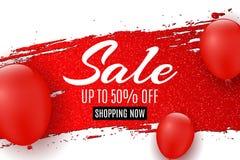 Έμβλημα Ιστού για την πώληση Η κόκκινη γραμμή grunge με ακτινοβολεί κόκκινο μπαλονιών Άσπρη ανασκόπηση μεγάλες εκπτώσεις Ειδική π Στοκ Εικόνες