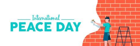Έμβλημα Ιστού ημέρας παγκόσμιας ειρήνης για την ελευθερία παιδιών απεικόνιση αποθεμάτων