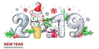 2019 έμβλημα καλής χρονιάς Χαριτωμένος χοίρος με το καπέλο Santa στον κώνο και τους αριθμούς βαφλών Απεικόνιση watercolor χαιρετι διανυσματική απεικόνιση