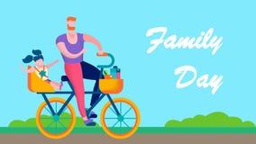 Έμβλημα κειμένων οικογενειακής ημέρας υπαίθρια κινητήριο επίπεδο διανυσματική απεικόνιση
