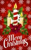 Έμβλημα κεριών Χριστουγέννων με snowflake, φως Χριστουγέννων απεικόνιση αποθεμάτων