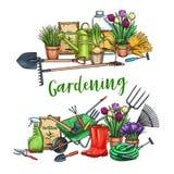 Έμβλημα κηπουρικής με τα εργαλεία απεικόνιση αποθεμάτων