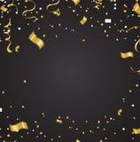 Έμβλημα κομμάτων εορτασμού με τα χρυσά μπαλόνια και serpentine E διανυσματική απεικόνιση