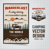 Έμβλημα λογότυπων Wanderlust και πρότυπο φυλλάδιων Εκλεκτής ποιότητας συρμένο χέρι διακριτικό ταξιδιού Χαρακτηρισμός της παλαιάς  ελεύθερη απεικόνιση δικαιώματος