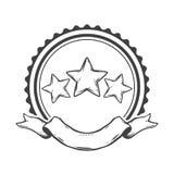 Έμβλημα με τα αστέρια, τους κύκλους και την κορδέλλα ελεύθερη απεικόνιση δικαιώματος