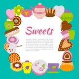Έμβλημα με τα γλυκά και τα φλυτζάνια ελεύθερη απεικόνιση δικαιώματος